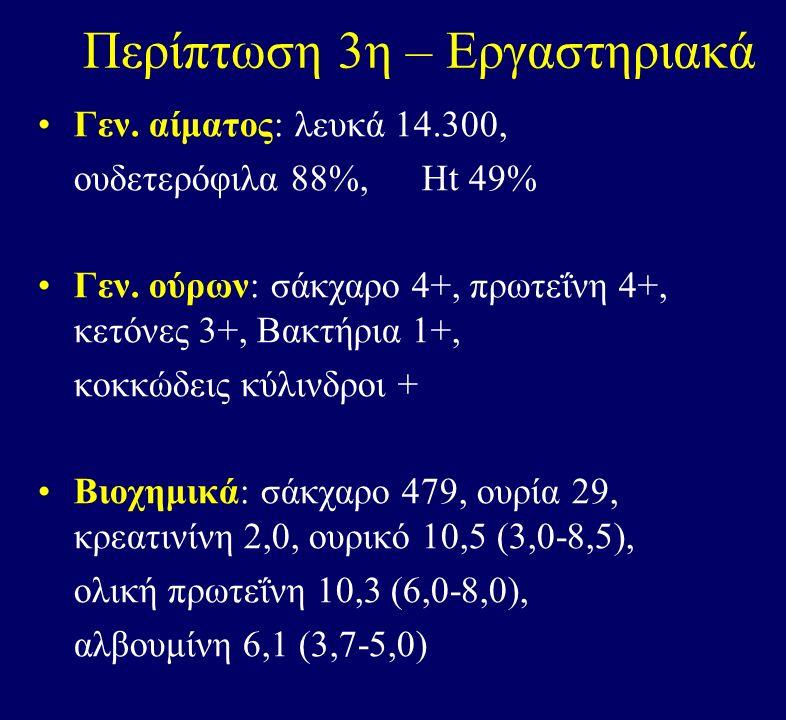 Περίπτωση 3η – Εργαστηριακά Γεν. αίματος: λευκά 14.300, ουδετερόφιλα 88%, Ht 49% Γεν.
