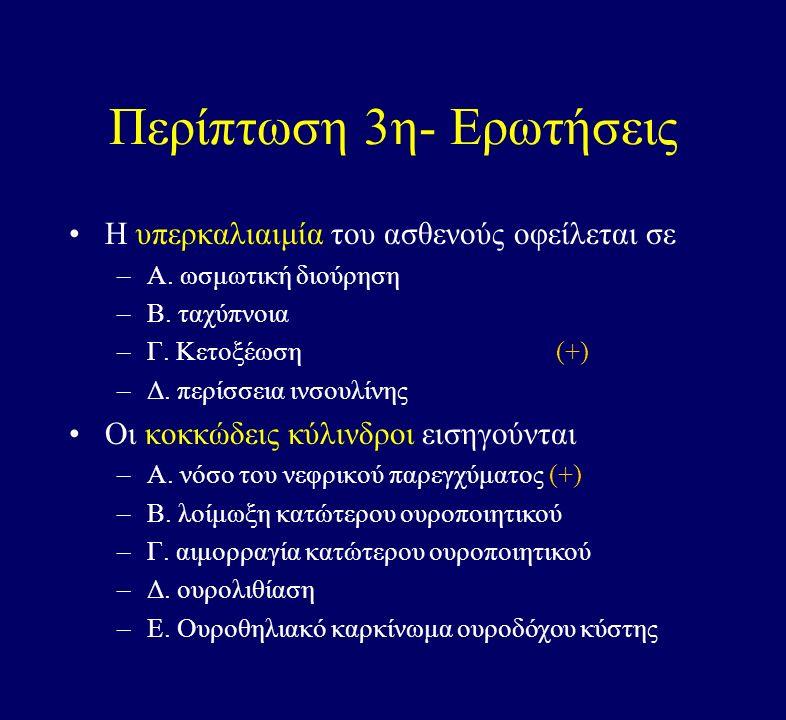 Περίπτωση 3η- Ερωτήσεις Η υπερκαλιαιμία του ασθενούς οφείλεται σε –Α.
