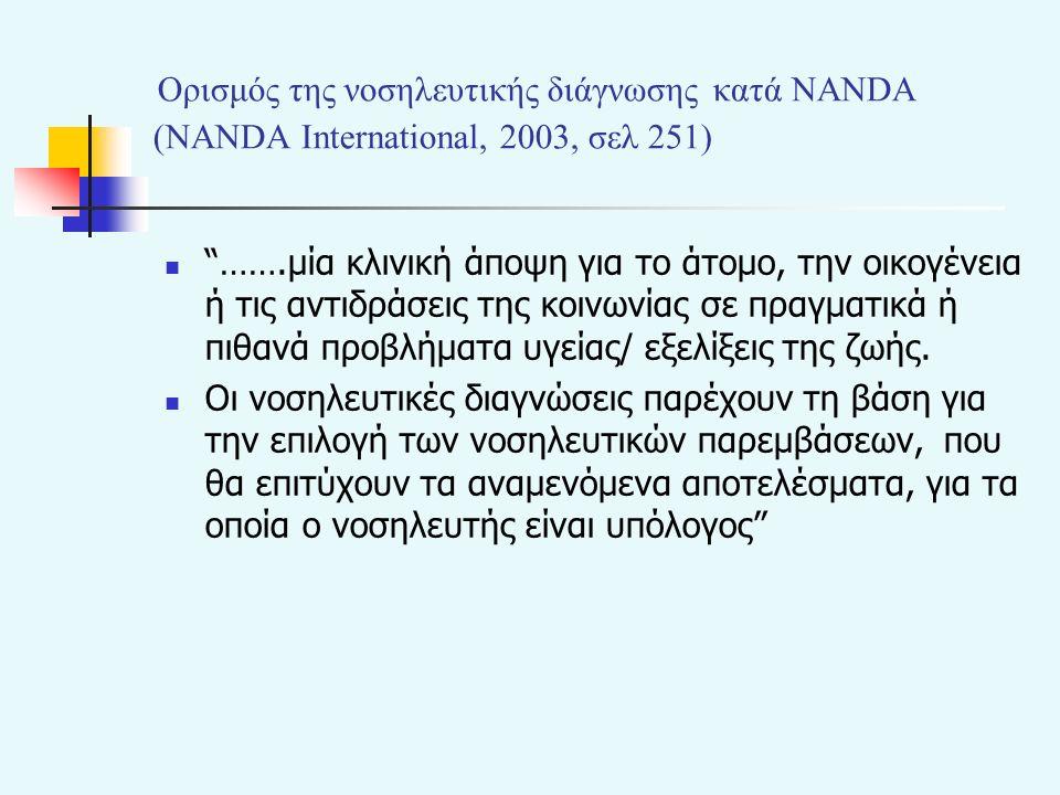 Ορισμός της νοσηλευτικής διάγνωσης κατά NANDA (NANDA Ιnternational, 2003, σελ 251) …….μία κλινική άποψη για το άτομο, την οικογένεια ή τις αντιδράσεις της κοινωνίας σε πραγματικά ή πιθανά προβλήματα υγείας/ εξελίξεις της ζωής.