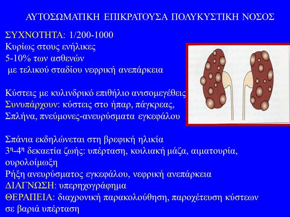 ΑΥΤΟΣΩΜΑΤΙΚΗ ΕΠΙΚΡΑΤΟΥΣΑ ΠΟΛΥΚΥΣΤΙΚΗ ΝΟΣΟΣ ΣΥΧΝΟΤΗΤΑ: 1/200-1000 Κυρίως στους ενήλικες 5-10% των ασθενών με τελικού σταδίου νεφρική ανεπάρκεια Κύστεις με κυλινδρικό επιθήλιο ανισομεγέθεις Συνυπάρχουν: κύστεις στο ήπαρ, πάγκρεας, Σπλήνα, πνεύμονες-ανευρύσματα εγκεφάλου Σπάνια εκδηλώνεται στη βρεφική ηλικία 3 η -4 η δεκαετία ζωής: υπέρταση, κοιλιακή μάζα, αιματουρία, ουρολοίμωξη Ρήξη ανευρύσματος εγκεφάλου, νεφρική ανεπάρκεια ΔΙΑΓΝΩΣΗ: υπερηχογράφημα ΘΕΡΑΠΕΙΑ: διαχρονική παρακολούθηση, παροχέτευση κύστεων σε βαριά υπέρταση