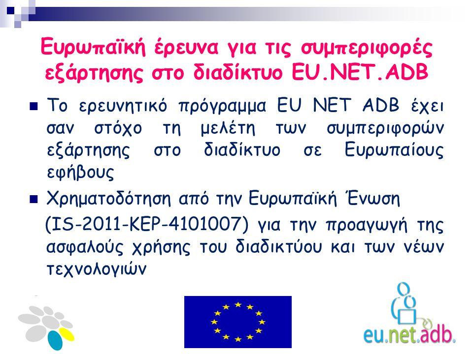 Ευρωπαϊκή έρευνα για τις συμπεριφορές εξάρτησης στο διαδίκτυο EU.NET.ADB Το ερευνητικό πρόγραμμα EU NET ADB έχει σαν στόχο τη μελέτη των συμπεριφορών εξάρτησης στο διαδίκτυο σε Ευρωπαίους εφήβους Χρηματοδότηση από την Ευρωπαϊκή Ένωση (IS-2011-KEP-4101007) για την προαγωγή της ασφαλούς χρήσης του διαδικτύου και των νέων τεχνολογιών