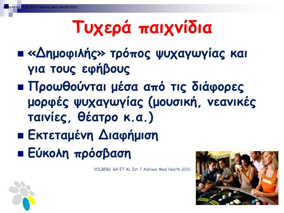 Τυχερά παιχνίδια «Δημοφιλής» τρόπος ψυχαγωγίας και για τους εφήβους Προωθούνται μέσα από τις διάφορες μορφές ψυχαγωγίας (μουσική, νεανικές ταινίες, θέατρο κ.α.) Εκτεταμένη Διαφήμιση Εύκολη πρόσβαση VOLBERG RA ET AL Int J Adolesc Med Health 2010