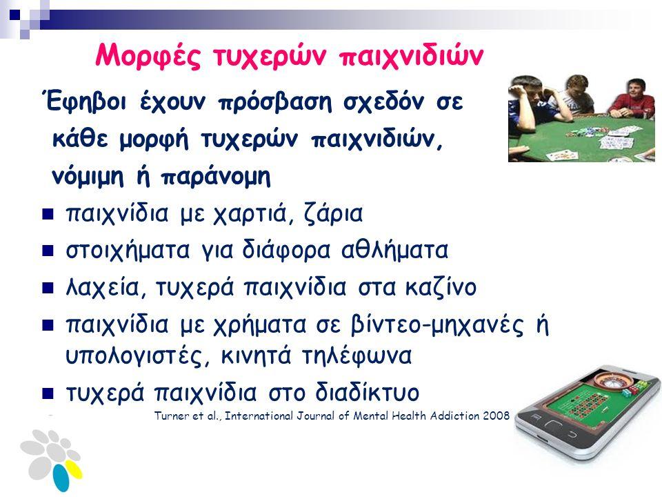 Μορφές τυχερών παιχνιδιών Έφηβοι έχουν πρόσβαση σχεδόν σε κάθε μορφή τυχερών παιχνιδιών, νόμιμη ή παράνομη παιχνίδια με χαρτιά, ζάρια στοιχήματα για διάφορα αθλήματα λαχεία, τυχερά παιχνίδια στα καζίνο παιχνίδια με χρήματα σε βίντεο-μηχανές ή υπολογιστές, κινητά τηλέφωνα τυχερά παιχνίδια στο διαδίκτυο Turner et al., International Journal of Mental Health Addiction 2008