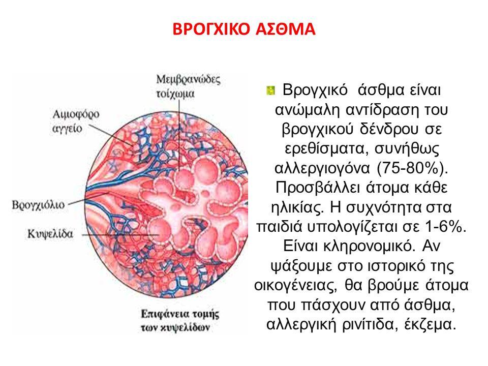 ΒΡΟΓΧΙΚΟ ΑΣΘΜΑ Βρογχικό άσθμα είναι ανώμαλη αντίδραση του βρογχικού δένδρου σε ερεθίσματα, συνήθως αλλεργιογόνα (75-80%).