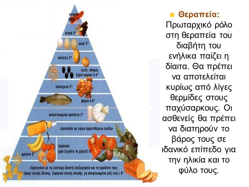 Θεραπεία: Πρωταρχικό ρόλο στη θεραπεία του διαβήτη του ενήλικα παίζει η δίαιτα.