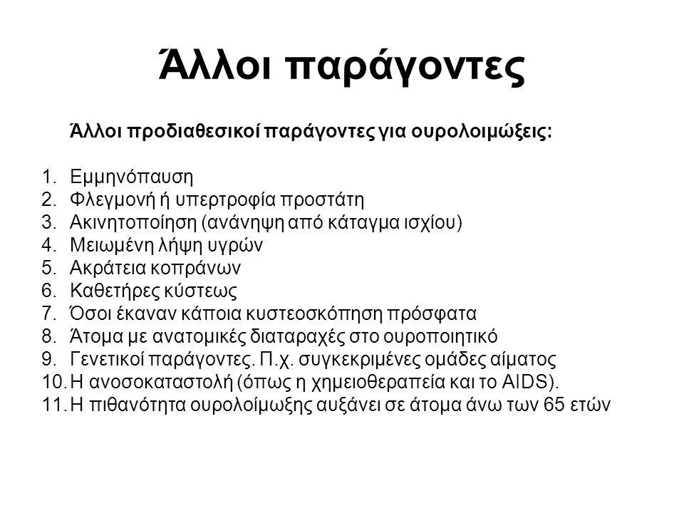 Άλλοι παράγοντες Άλλοι προδιαθεσικοί παράγοντες για ουρολοιμώξεις: 1.Εμμηνόπαυση 2.Φλεγμονή ή υπερτροφία προστάτη 3.Ακινητοποίηση (ανάνηψη από κάταγμα ισχίου) 4.Μειωμένη λήψη υγρών 5.Ακράτεια κοπράνων 6.Καθετήρες κύστεως 7.Όσοι έκαναν κάποια κυστεοσκόπηση πρόσφατα 8.Άτομα με ανατομικές διαταραχές στο ουροποιητικό 9.Γενετικοί παράγοντες.