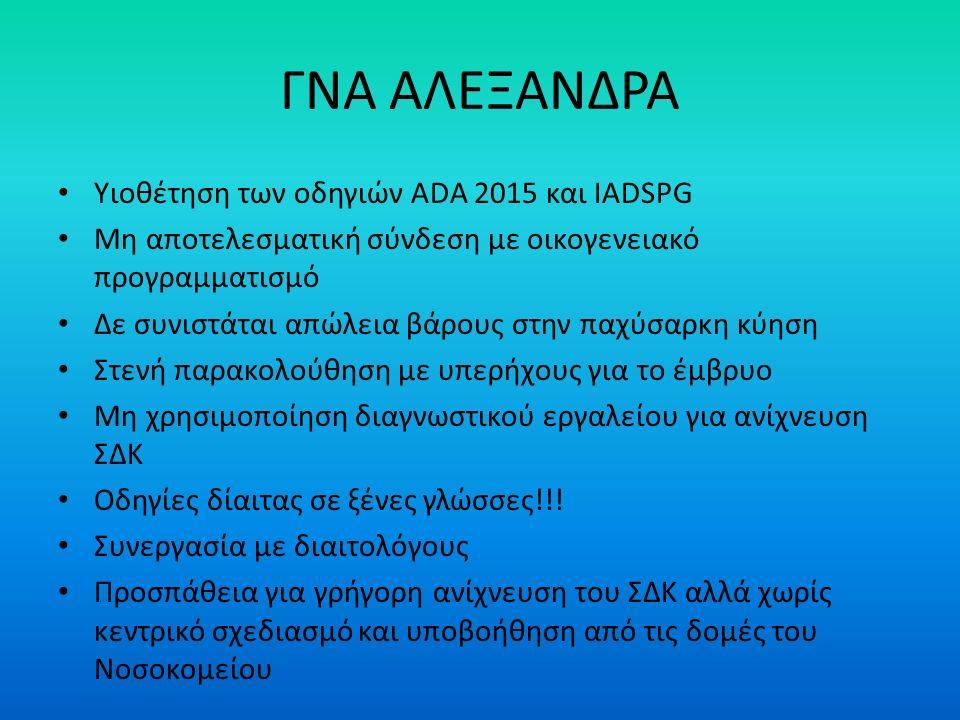 ΓΝΑ ΑΛΕΞΑΝΔΡΑ Υιοθέτηση των οδηγιών ADA 2015 και IADSPG Μη αποτελεσματική σύνδεση με οικογενειακό προγραμματισμό Δε συνιστάται απώλεια βάρους στην παχύσαρκη κύηση Στενή παρακολούθηση με υπερήχους για το έμβρυο Μη χρησιμοποίηση διαγνωστικού εργαλείου για ανίχνευση ΣΔΚ Οδηγίες δίαιτας σε ξένες γλώσσες!!.