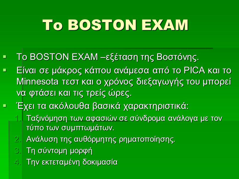 Το BOSTON EXAM  Το BOSTON EXAM –εξέταση της Βοστόνης.  Είναι σε μάκρος κάπου ανάμεσα από το PICA και το Minnesota τεστ και ο χρόνος διεξαγωγής του μ