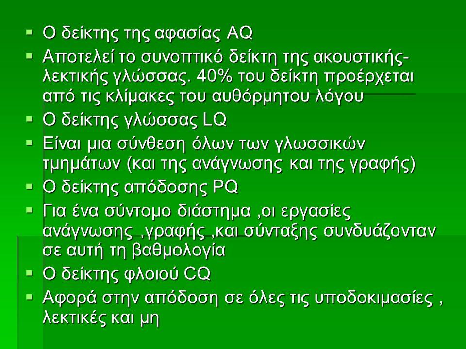  Ο δείκτης της αφασίας AQ  Αποτελεί το συνοπτικό δείκτη της ακουστικής- λεκτικής γλώσσας.