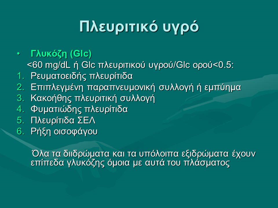 Πλευριτικό υγρό pHpH pH<7.30 → ένδειξη για παροχέτευση pH<7.30 → ένδειξη για παροχέτευση pH<7.30 με φυσιολογικό pH αρτηριακού αίματος → διαγνώσεις όμοιες με ↓Glc πλευριτικού υγρού pH<7.30 με φυσιολογικό pH αρτηριακού αίματος → διαγνώσεις όμοιες με ↓Glc πλευριτικού υγρού διιδρώματα: pH=7.40-7.55 διιδρώματα: pH=7.40-7.55 εξιδρώματα: pH=7.30-7.45 εξιδρώματα: pH=7.30-7.45