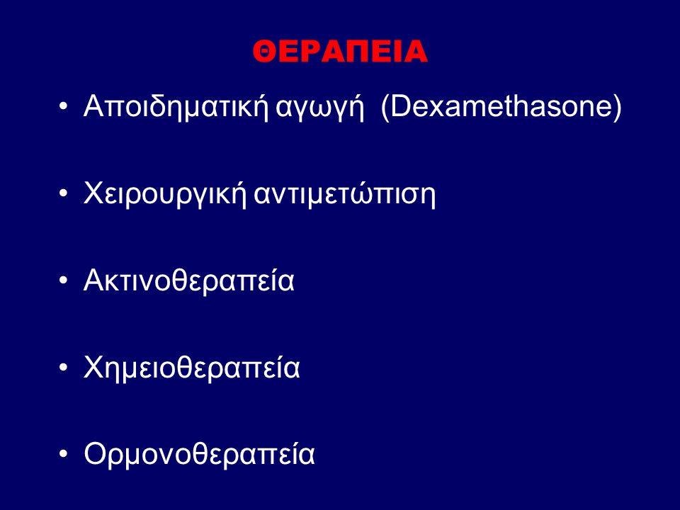 ΘΕΡΑΠΕΙΑ Αποιδηματική αγωγή (Dexamethasone) Χειρουργική αντιμετώπιση Ακτινοθεραπεία Χημειοθεραπεία Ορμονοθεραπεία