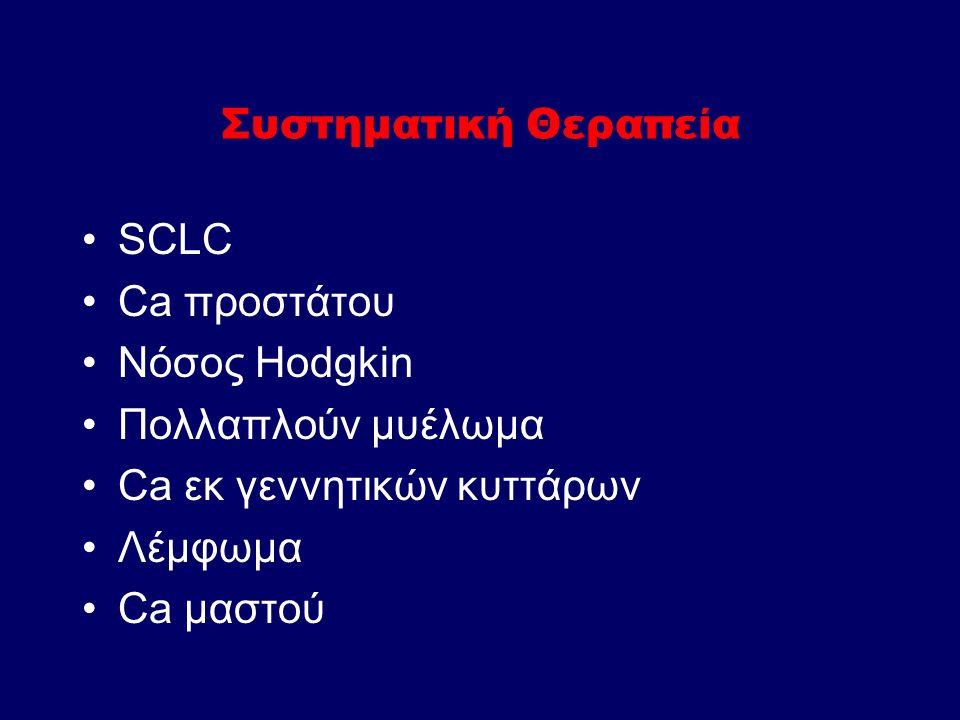Συστηματική Θεραπεία SCLC Ca προστάτου Νόσος Hodgkin Πολλαπλούν μυέλωμα Ca εκ γεννητικών κυττάρων Λέμφωμα Ca μαστού