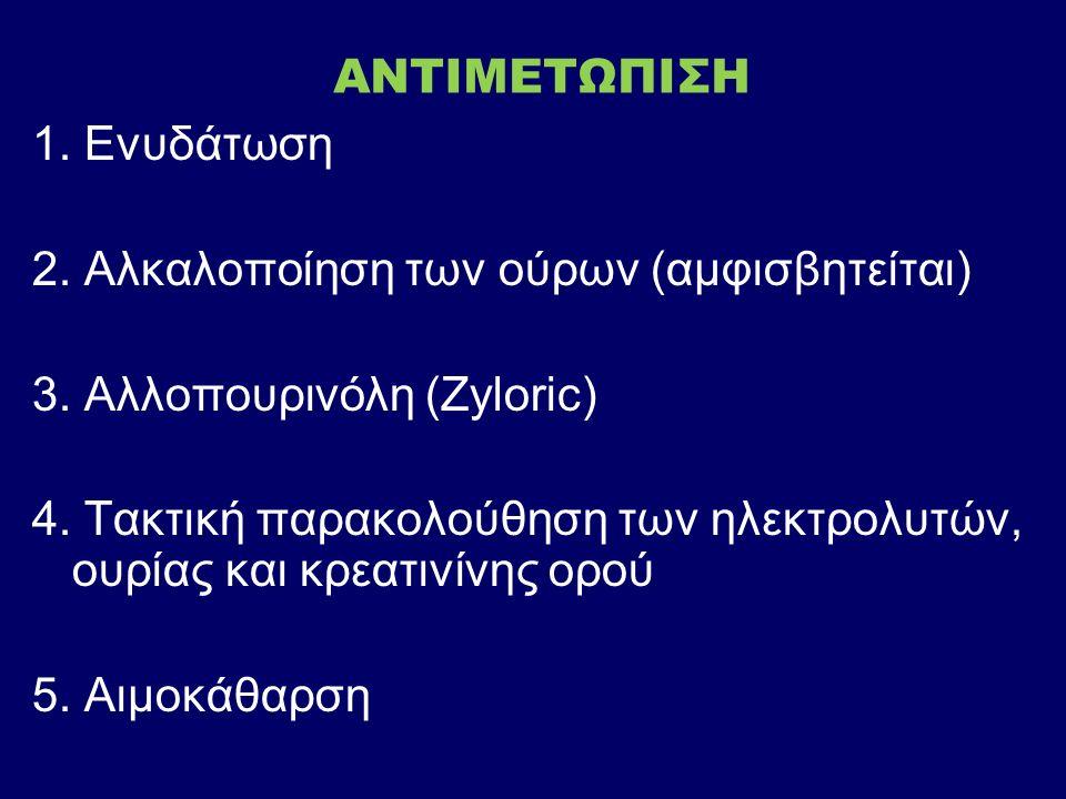 ΑΝΤΙΜΕΤΩΠΙΣΗ 1. Ενυδάτωση 2. Αλκαλοποίηση των ούρων (αμφισβητείται) 3.