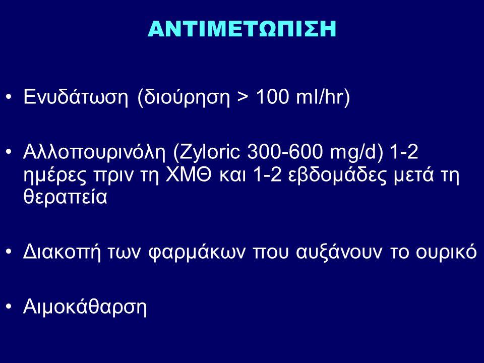 ΑΝΤΙΜΕΤΩΠΙΣΗ Ενυδάτωση (διούρηση > 100 ml/hr) Αλλοπουρινόλη (Zyloric 300-600 mg/d) 1-2 ημέρες πριν τη ΧΜΘ και 1-2 εβδομάδες μετά τη θεραπεία Διακοπή των φαρμάκων που αυξάνουν το ουρικό Αιμοκάθαρση