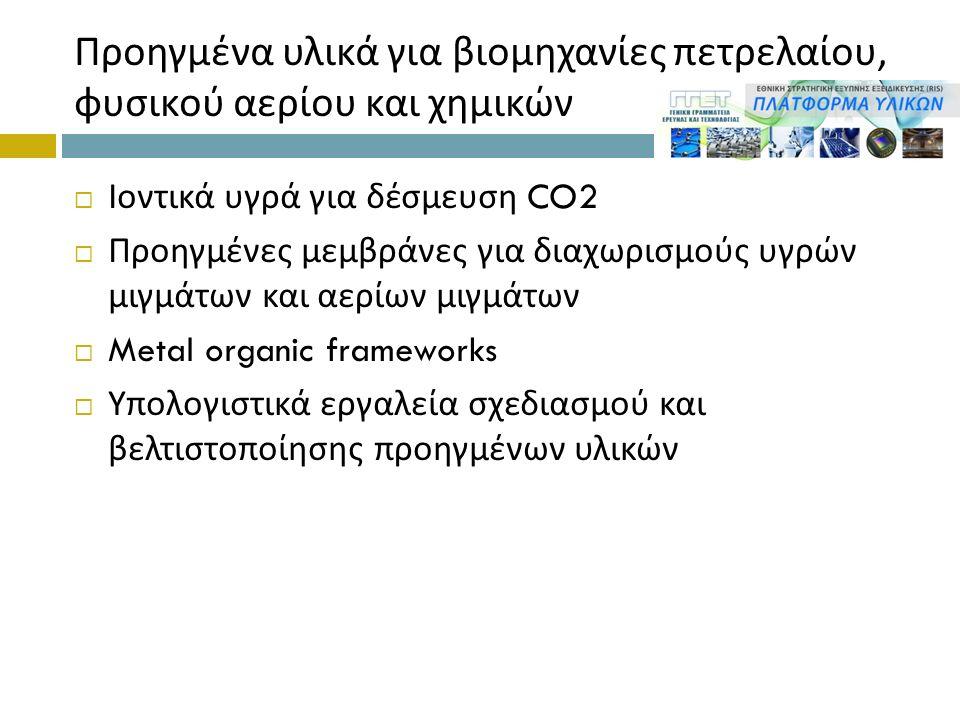 Προηγμένα υλικά για βιομηχανίες πετρελαίου, φυσικού αερίου και χημικών  Ιοντικά υγρά για δέσμευση CO2  Προηγμένες μεμβράνες για διαχωρισμούς υγρών μιγμάτων και αερίων μιγμάτων  Metal organic frameworks  Υπολογιστικά εργαλεία σχεδιασμού και βελτιστοποίησης προηγμένων υλικών
