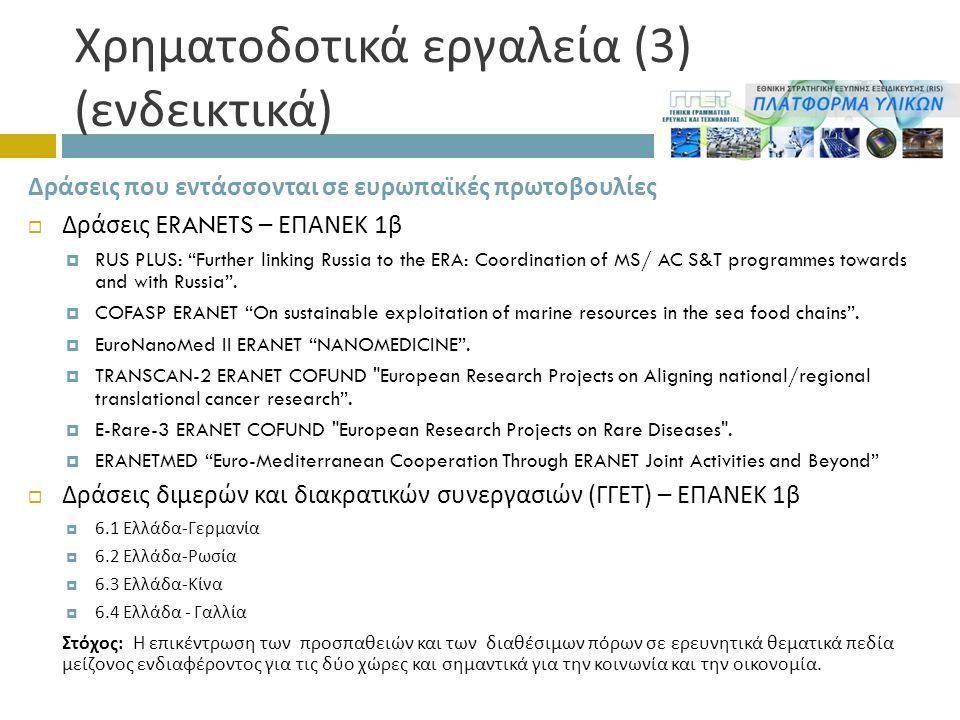 Χρηματοδοτικά εργαλεία (3) ( ενδεικτικά ) Δράσεις που εντάσσονται σε ευρωπαϊκές πρωτοβουλίες  Δράσεις ERANETS – ΕΠΑΝΕΚ 1 β  RUS PLUS: Further linking Russia to the ERA: Coordination of MS/ AC S&T programmes towards and with Russia .
