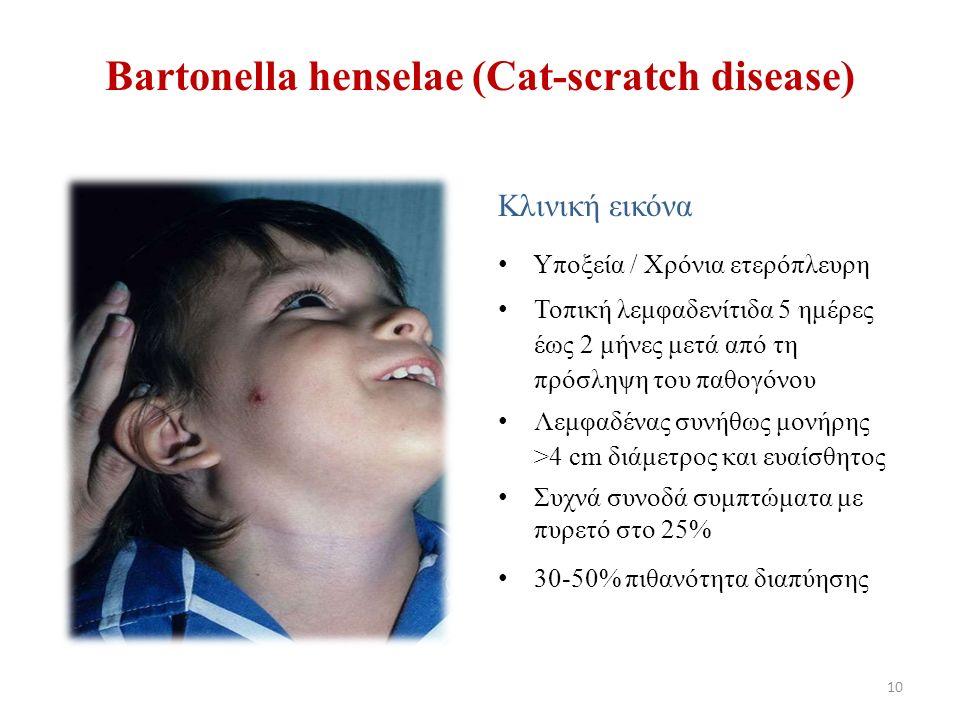 Βartonella henselae (Cat-scratch disease) Κλινική εικόνα Υποξεία / Χρόνια ετερόπλευρη Τοπική λεμφαδενίτιδα 5 ημέρες έως 2 μήνες μετά από τη πρόσληψη του παθογόνου Λεμφαδένας συνήθως μονήρης >4 cm διάμετρος και ευαίσθητος Συχνά συνοδά συμπτώματα με πυρετό στο 25% 30-50% πιθανότητα διαπύησης 10