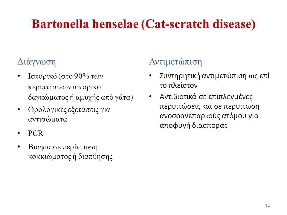 Διάγνωση Ιστορικό (στο 90% των περιπτώσεων ιστορικό δαγκώματος ή αμυχής από γάτα) Ορολογικές εξετάσεις για αντισώματα PCR Βιοψία σε περίπτωση κοκκιώμα