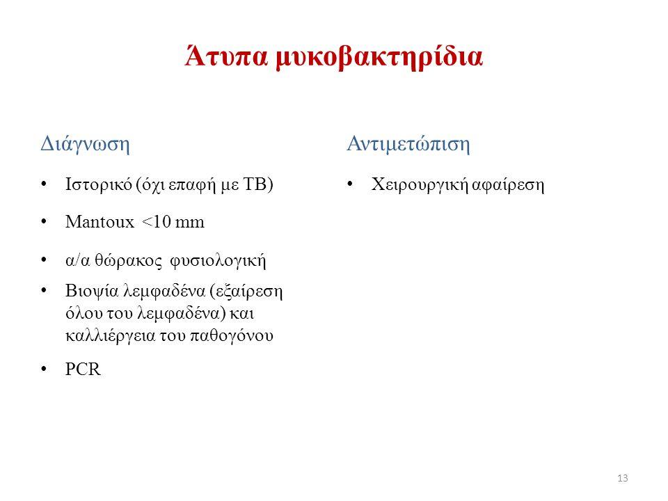 Διάγνωση Ιστορικό (όχι επαφή με ΤΒ) Mantoux <10 mm α/α θώρακος φυσιολογική Βιοψία λεμφαδένα (εξαίρεση όλου του λεμφαδένα) και καλλιέργεια του παθογόνου PCR Αντιμετώπιση Χειρουργική αφαίρεση 13 Άτυπα μυκοβακτηρίδια