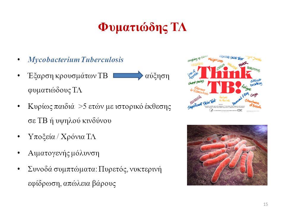 Μycobacterium Tuberculosis Έξαρση κρουσμάτων TB αύξηση φυματιώδους ΤΛ Κυρίως παιδιά >5 ετών με ιστορικό έκθεσης σε ΤΒ ή υψηλού κινδύνου Υποξεία / Xρόνια ΤΛ Αιματογενής μόλυνση Συνοδά συμπτώματα: Πυρετός, νυκτερινή εφίδρωση, απώλεια βάρους 15 Φυματιώδης ΤΛ