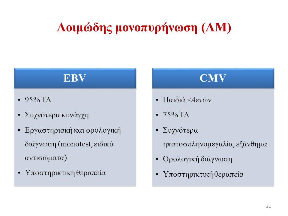 EBV 95% ΤΛ Συχνότερα κυνάγχη Εργαστηριακή και ορολογική διάγνωση (monotest, ειδικά αντισώματα) Υποστηρικτική θεραπεία CMV Παιδιά <4ετών 75% ΤΛ Συχνότερα ηπατοσπληνομεγαλία, εξάνθημα Ορολογική διάγνωση Υποστηρικτική θεραπεία 21 Λοιμώδης μονοπυρήνωση (ΛΜ)