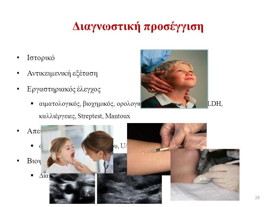 Διαγνωστική προσέγγιση Ιστορικό Αντικειμενική εξέταση Εργαστηριακός έλεγχος  αιματολογικός, βιοχημικός, ορολογικός έλεγχος, ΤΚΕ, CRP, LDH, καλλιέργειες, Streptest, Mantoux Απεικονιστικός έλεγχος  α/α θώρακος, U/S τραχήλου, U/S κοιλίας, CT θώρακος Βιοψία  Δια λεπτής βελόνης (FNA) ή ανοιχτή 28