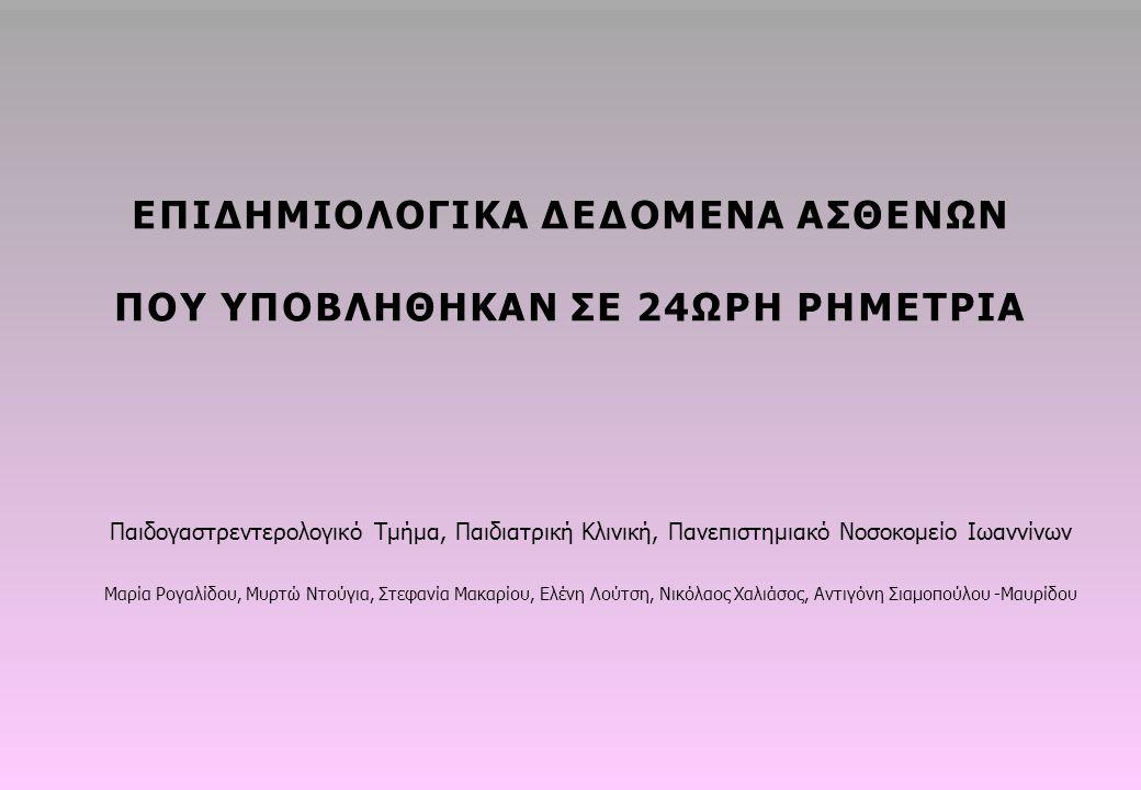 Παιδογαστρεντερολογικό Τμήμα, Παιδιατρική Κλινική, Πανεπιστημιακό Νοσοκομείο Ιωαννίνων Μαρία Ρογαλίδου, Μυρτώ Ντούγια, Στεφανία Μακαρίου, Ελένη Λούτση, Νικόλαος Χαλιάσος, Αντιγόνη Σιαμοπούλου -Μαυρίδου ΕΠΙΔΗΜΙΟΛΟΓΙΚΑ ΔΕΔΟΜΕΝΑ ΑΣΘΕΝΩΝ ΠΟΥ ΥΠΟΒΛΗΘΗΚΑΝ ΣΕ 24ΩΡΗ PHΜΕΤΡΙΑ