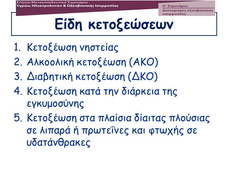 Είδη κετοξεώσεων 1.Κετοξέωση νηστείας 2.Αλκοολική κετοξέωση (ΑΚΟ) 3.Διαβητική κετοξέωση (ΔΚΟ) 4.Κετοξέωση κατά την διάρκεια της εγκυμοσύνης 5.Κετοξέωσ