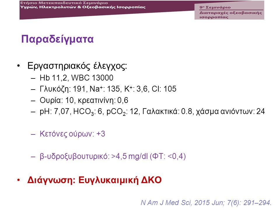 Εργαστηριακός έλεγχος: –Hb 11,2, WBC 13000 –Γλυκόζη: 191, Na + : 135, K + : 3,6, Cl: 105 –Ουρία: 10, κρεατινίνη: 0,6 –pH: 7,07, HCO 3 : 6, pCO 2 : 12,