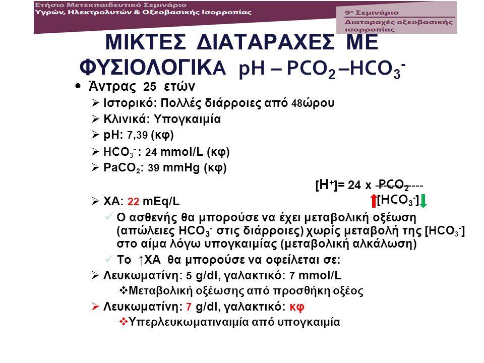 ΜΙΚΤΕΣ ΔΙΑΤΑΡΑΧΕΣ ΜΕ ΦΥΣΙΟΛΟΓΙΚ A pH – PCO 2 –HCO 3 - Άντρας 25 ετών  Ιστορικό: Πολλές διάρροιες από 48 ώρου  Κλινικά: Υπογκαιμία  pH: 7,39 (κφ) 