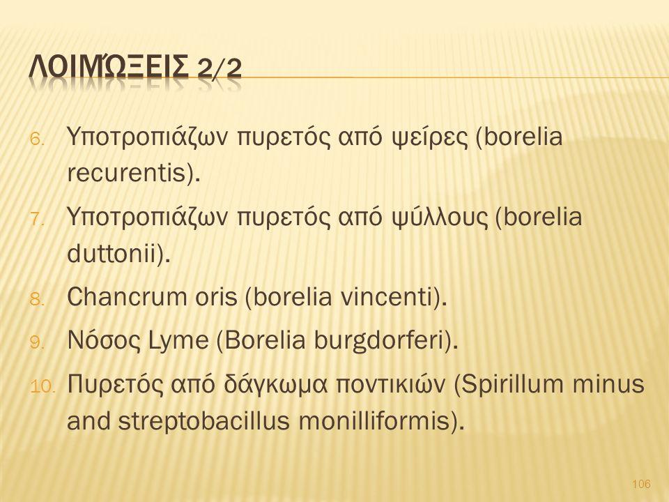 6. Υποτροπιάζων πυρετός από ψείρες (borelia recurentis). 7. Υποτροπιάζων πυρετός από ψύλλους (borelia duttonii). 8. Chancrum oris (borelia vincenti).