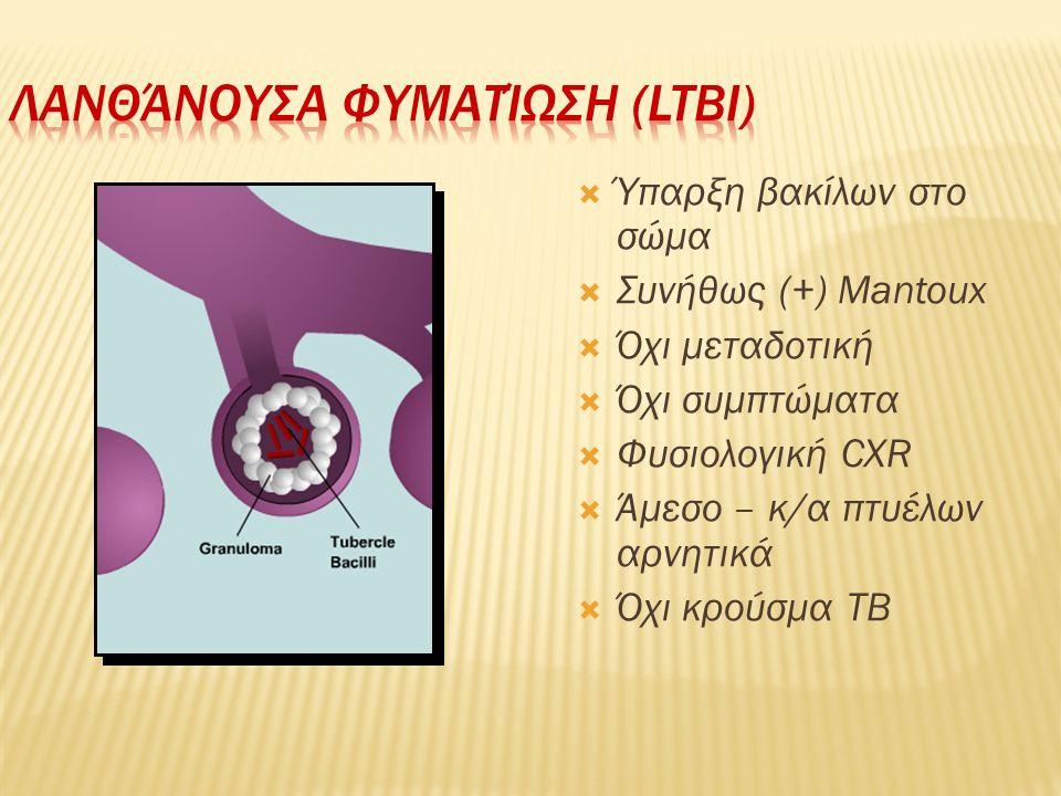  Ύπαρξη βακίλων στο σώμα  Συνήθως (+) Mantoux  Όχι μεταδοτική  Όχι συμπτώματα  Φυσιολογική CXR  Άμεσο – κ/α πτυέλων αρνητικά  Όχι κρούσμα TB