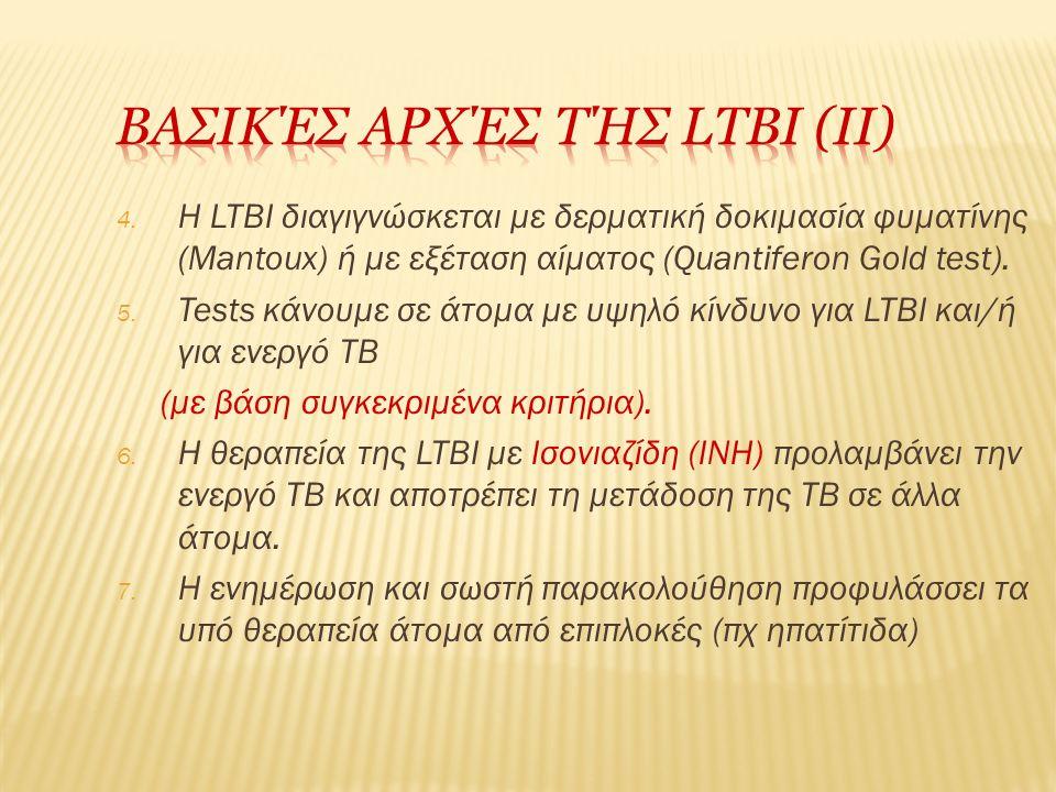 4. Η LTBI διαγιγνώσκεται με δερματική δοκιμασία φυματίνης (Mantoux) ή με εξέταση αίματος (Quantiferon Gold test). 5. Tests κάνουμε σε άτομα με υψηλό κ