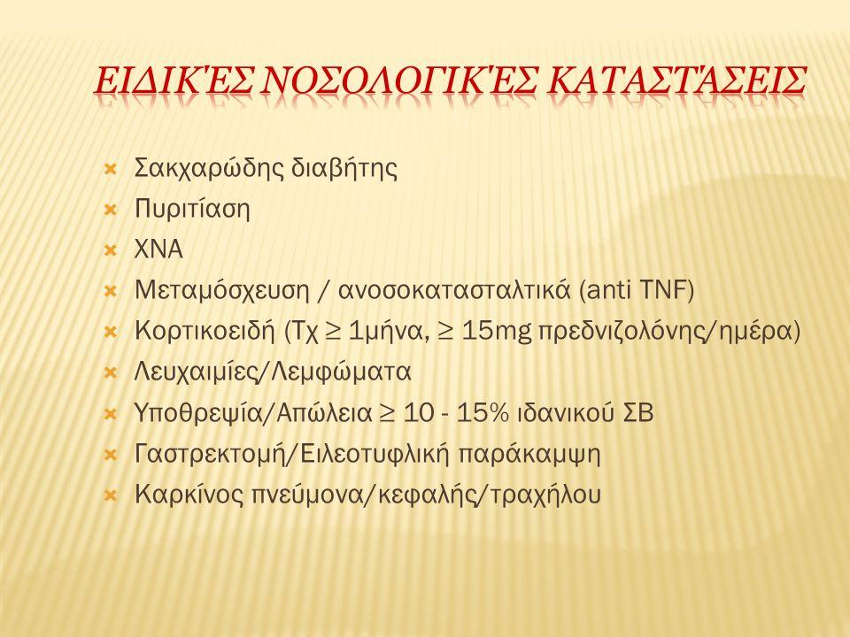  Σακχαρώδης διαβήτης  Πυριτίαση  ΧΝΑ  Μεταμόσχευση / ανοσοκατασταλτικά (anti TNF)  Κορτικοειδή (Τχ ≥ 1μήνα, ≥ 15mg πρεδνιζολόνης/ημέρα)  Λευχαιμ