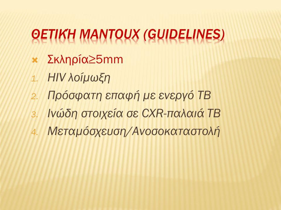  Σκληρία≥5mm 1. HIV λοίμωξη 2. Πρόσφατη επαφή με ενεργό ΤΒ 3. Ινώδη στοιχεία σε CXR-παλαιά ΤΒ 4. Μεταμόσχευση/Ανοσοκαταστολή
