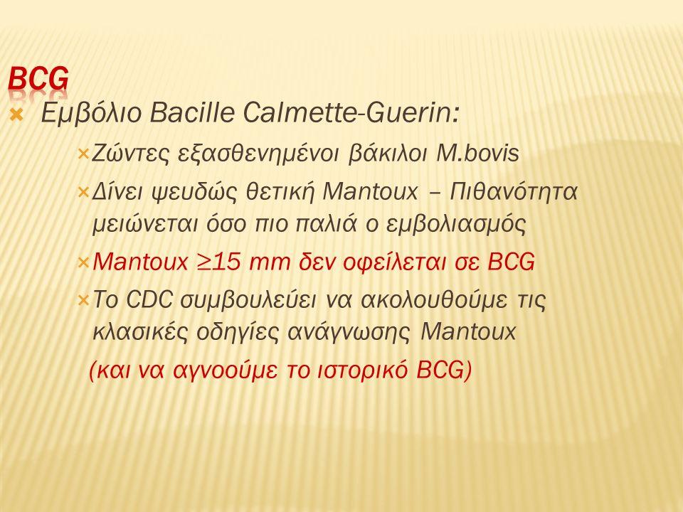  Εμβόλιο Bacille Calmette-Guerin:  Ζώντες εξασθενημένοι βάκιλοι M.bovis  Δίνει ψευδώς θετική Mantoux – Πιθανότητα μειώνεται όσο πιο παλιά ο εμβολια