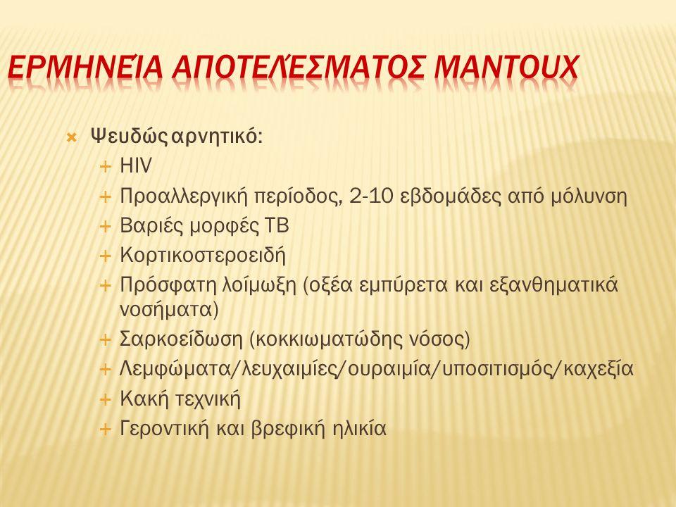  Ψευδώς αρνητικό:  HIV  Προαλλεργική περίοδος, 2-10 εβδομάδες από μόλυνση  Βαριές μορφές ΤΒ  Κορτικοστεροειδή  Πρόσφατη λοίμωξη (οξέα εμπύρετα κ