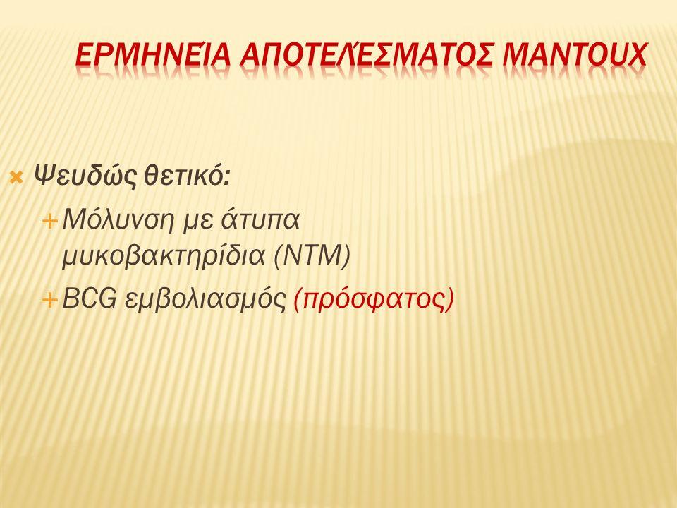  Ψευδώς θετικό:  Μόλυνση με άτυπα μυκοβακτηρίδια (ΝΤΜ)  BCG εμβολιασμός (πρόσφατος)