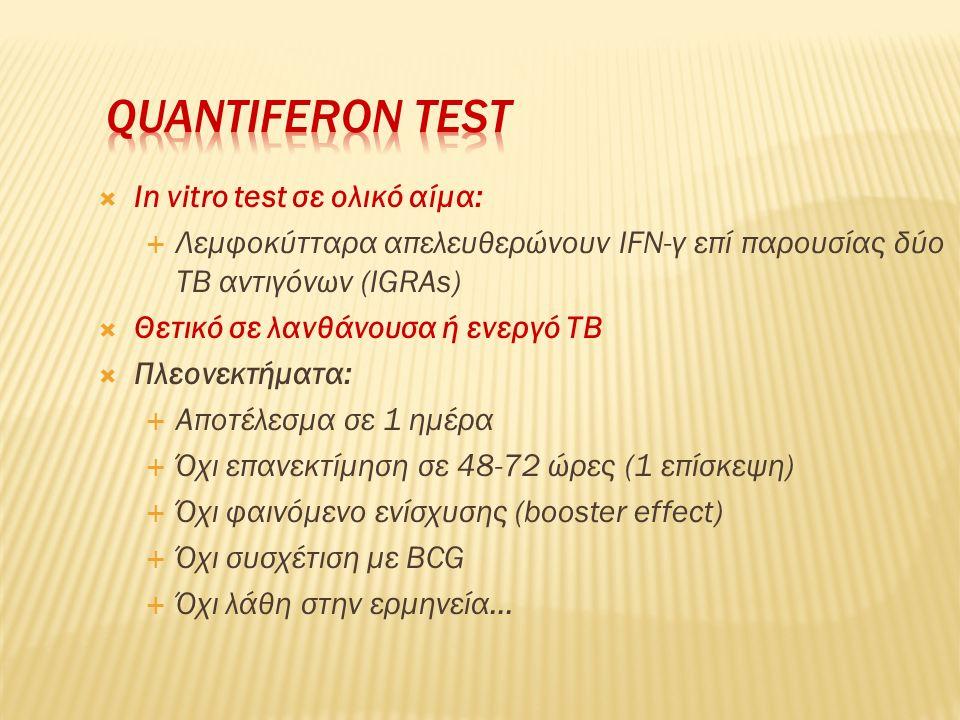  In vitro test σε ολικό αίμα:  Λεμφοκύτταρα απελευθερώνουν IFN-γ επί παρουσίας δύο TB αντιγόνων (IGRAs)  Θετικό σε λανθάνουσα ή ενεργό TB  Πλεονεκ