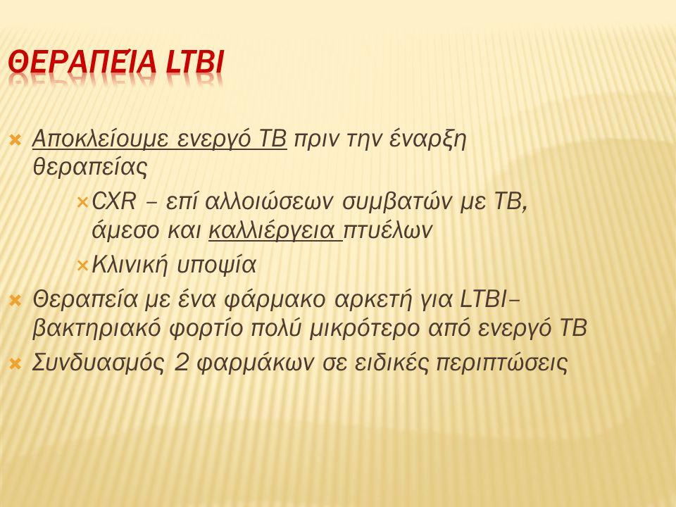  Αποκλείουμε ενεργό ΤΒ πριν την έναρξη θεραπείας  CXR – επί αλλοιώσεων συμβατών με TB, άμεσο και καλλιέργεια πτυέλων  Κλινική υποψία  Θεραπεία με