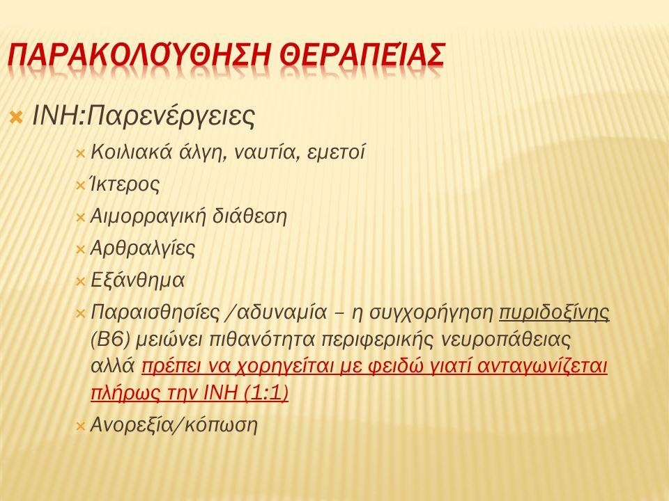  INH:Παρενέργειες  Κοιλιακά άλγη, ναυτία, εμετοί  Ίκτερος  Αιμορραγική διάθεση  Αρθραλγίες  Εξάνθημα  Παραισθησίες /αδυναμία – η συγχορήγηση πυ