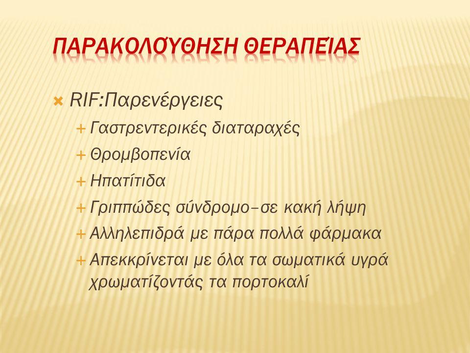  RIF:Παρενέργειες  Γαστρεντερικές διαταραχές  Θρομβοπενία  Ηπατίτιδα  Γριππώδες σύνδρομο–σε κακή λήψη  Αλληλεπιδρά με πάρα πολλά φάρμακα  Απεκκ