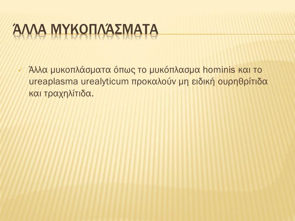 Άλλα μυκοπλάσματα όπως το μυκόπλασμα hominis και το ureaplasma urealyticum προκαλούν μη ειδική ουρηθρίτιδα και τραχηλίτιδα.