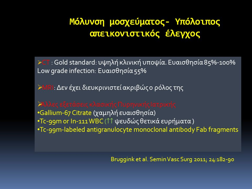 18 F-FDG PET/CT μόλυνση αγγειακού μοσχεύματος Sah BR et al. Eur J Vasc Endovasc Surg 2015;49:455-64
