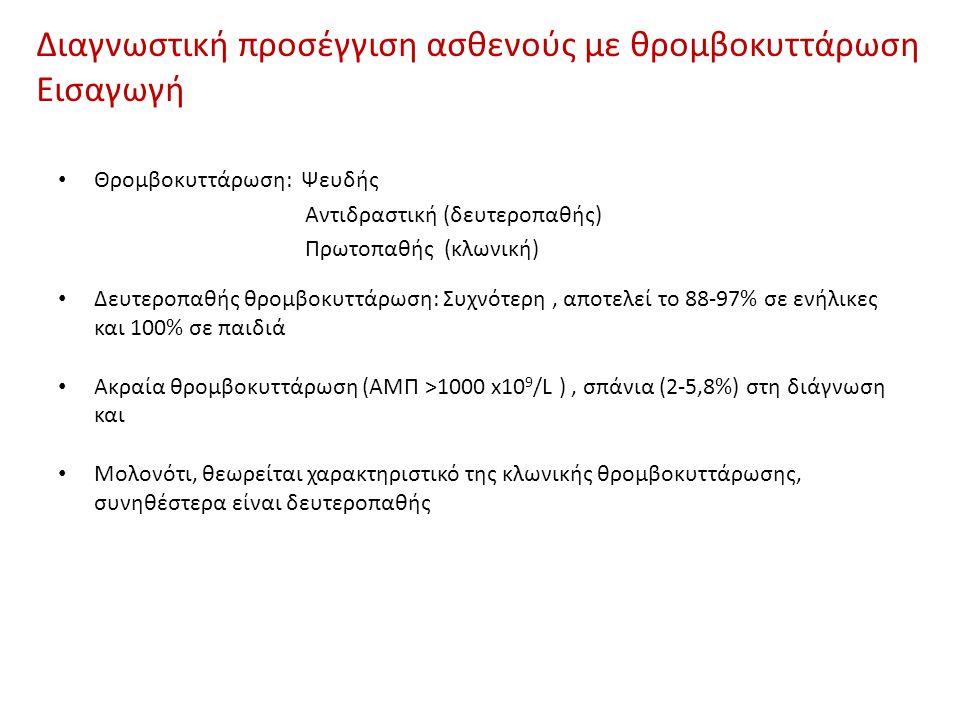 Διαγνωστική προσέγγιση ασθενούς με θρομβοκυττάρωση Εισαγωγή Θρομβοκυττάρωση: Ψευδής Αντιδραστική (δευτεροπαθής) Πρωτοπαθής (κλωνική) Δευτεροπαθής θρομβοκυττάρωση: Συχνότερη, αποτελεί το 88-97% σε ενήλικες και 100% σε παιδιά Ακραία θρομβοκυττάρωση (ΑΜΠ >1000 x10 9 /L ), σπάνια (2-5,8%) στη διάγνωση και Μολονότι, θεωρείται χαρακτηριστικό της κλωνικής θρομβοκυττάρωσης, συνηθέστερα είναι δευτεροπαθής