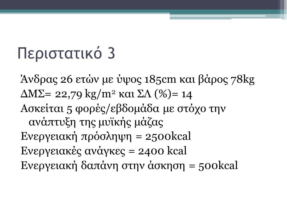 Περιστατικό 3 Άνδρας 26 ετών με ύψος 185cm και βάρος 78kg ΔΜΣ= 22,79 kg/m 2 και ΣΛ (%)= 14 Ασκείται 5 φορές/εβδομάδα με στόχο την ανάπτυξη της μυϊκής μάζας Ενεργειακή πρόσληψη = 2500kcal Ενεργειακές ανάγκες = 2400 kcal Ενεργειακή δαπάνη στην άσκηση = 500kcal