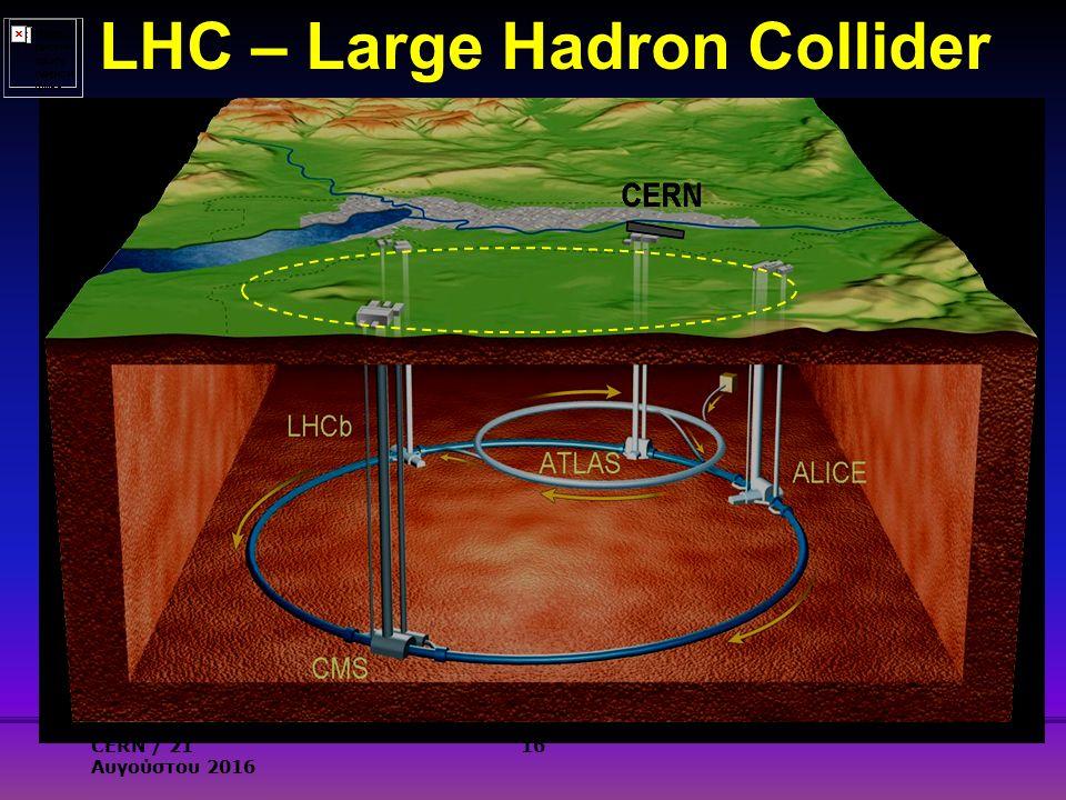LHC – Large Hadron Collider 16CERN / 21 Αυγούστου 2016