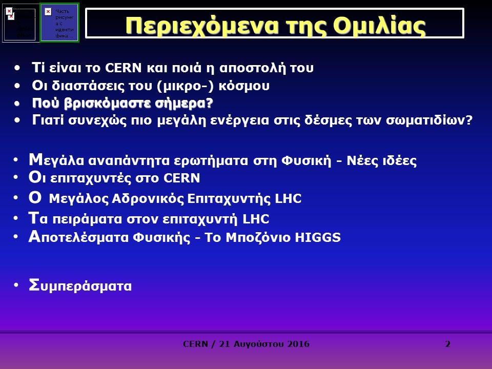 2 Περιεχόμενα της Ομιλίας Τ ί είναι το CERN και ποιά η αποστολή του Ο ι διαστάσεις του (μικρο-) κόσμου Πού βρισκόμαστε σήμερα Πού βρισκόμαστε σήμερα.