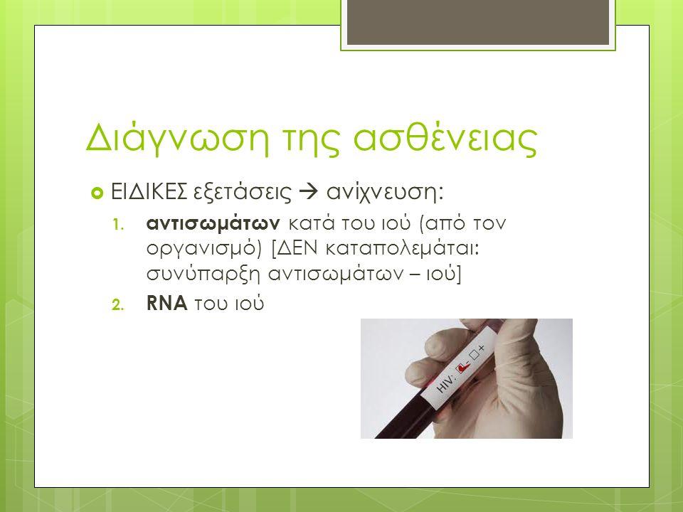 Διάγνωση της ασθένειας  ΕΙΔΙΚΕΣ εξετάσεις  ανίχνευση: 1.