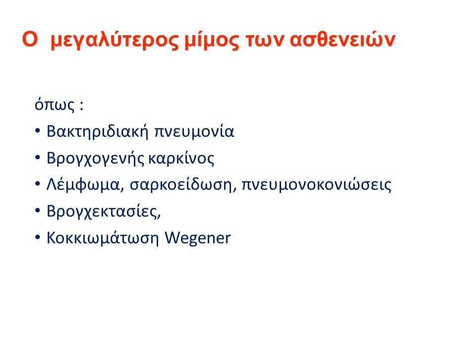 Ο μεγαλύτερος μίμος των ασθενειών όπως : Βακτηριδιακή πνευμονία Βρογχογενής καρκίνος Λέμφωμα, σαρκοείδωση, πνευμονοκονιώσεις Βρογχεκτασίες, Κοκκιωμάτωση Wegener